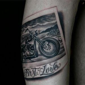 Tattoo by Justin Burnout #JustinBurnout #tattoodoambassador #blackandgrey #motorcycle #polaroid #travel #love #landscape