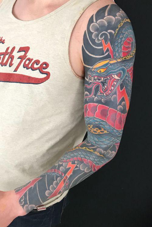 Snake sleeve #snake #japanese #sleeve #japanesetattoo #irezumi