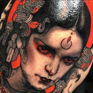 Tattoo by Aimee Cornwell #AimeeCornwell #tattoodoambassador #neotraditional #color #blackandgrey #ladyhead #portrait #thirdeye #snake