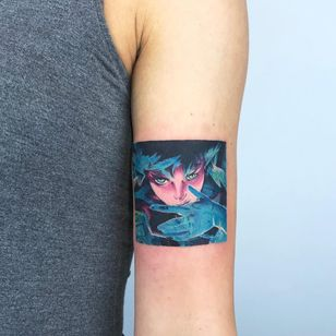 Tattoo by Valeria Yarmola #ValeriaYarmola #besttattoos #best #color #anime #manga #portrait #watercolor #ghostintheshell #ladyhead #lady