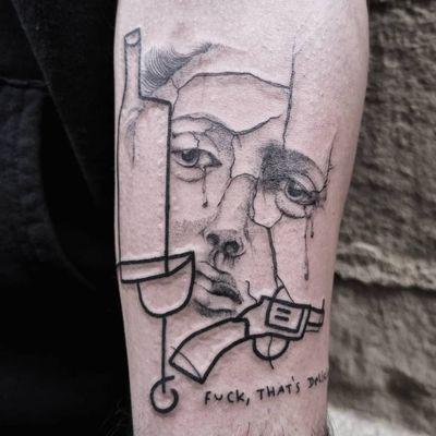 Tattoo by Ugly Kid Gumo #UglyKidGumo #besttattoos #best #blackwork #illustrative #dotwork #gun #wine #tears #portrait