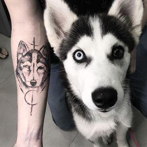 Tattoo by Renan Sampaio #RenanSampaio #toptattoosof2018 #toptattoos #2018 #bestof2018 #dog #petportrait #portrait #animal #cute #blackwork #illustrative #moon