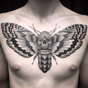 Blackwork deathmoth chestpiece