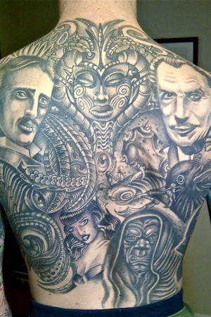 Backpiece featuring Nikola Tesla, Vincent Price, Bettie Page, and Emperor Palpatine.