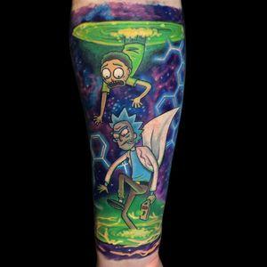 Tattoo by Chris Smith aka inkoutsidethebox #ChrisSmith #inkoutsidethebox #toptattoosof2018 #toptattoos #2018 #bestof2018 #rickandmorty #ricksanchez #color #space #surreal #mortysmith #adultswim #cartoon