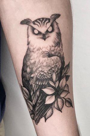 Little owl for a close friend 🦉 #blackwork #dotwork #fineline #mazvtier #nature #bird #owl