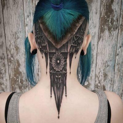 Tattoo by Gracie Gosling #GracieGosling #toptattoosof2018 #toptattoos #2018 #bestof2018 #castle #architecture #building #necktattoo #gothic #cathedral #church #stainedglass