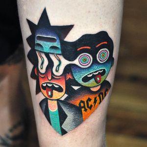 Tattoo by David Cote #DavidCote #toptattoosof2018 #toptattoos #2018 #bestof2018 #rickandmorty #ricksanchez #color #trippy #surreal #mortysmith #lsd #psychedelic #adultswim #cartoon #newschool