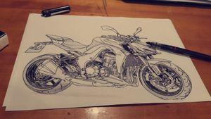 #motorbike #motorcycle #kawasaki #kawasakiZ1000 #drawings #sketch #sketchstyle