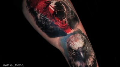 Tattoo leg in a realistic style by tattoo artist Alexei Mikhailov. #eagle #bear #tattoorealism #realistictattoos #tattoos #tattooartist #tattooer #tatuaze #tatuajes #colortattoos #colortattoos #realism