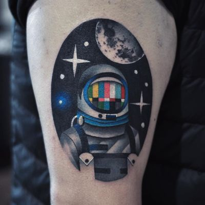 Tattoo by David Cote #DavidCote #spacetattoos #space #galaxy #outerspace #spacetravel #stars #planets #moon #astronaut #spaceman