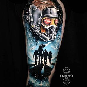 Tattoo by Saga Anderson #SagaAnderson #spacetattoos #space #galaxy #outerspace #spacetravel #stars #planets #moon #guardiansofthegalaxy #movie #realism #realistic #hyperrealism #movie