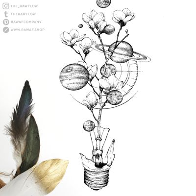 Brake a lightbulb and see what happens! Full designs and more: www.rawaf.shop/tattoo #dotwork #galaxy #planets #moon #cherryblossom #flower #lightbulb #geometric #blackwork #space #universe #travel #nature