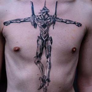 Tattoo by Oozy #Oozy #robottattoos #cyborgtattoos #robot #cyborg #AI #mechanical #machine #Evangelion #anime #manga #illustrative #blackwork #chestpiece