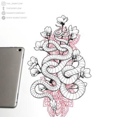Red mandala + dotwork snake / www.rawaf.shop/tattoo for more designs. 🖤 #dotwork #blackwork #mandala #snake #cherryblossom #flower #animal #nature #red #black #decorative #thightattoo #sternum