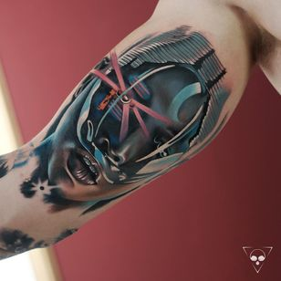 Tattoo by Michael Litovkin #MichaelLitovkin #robottattoos #cyborgtattoos #robot #cyborg #AI #mechanical #machine #color #realism #realistic #ladyhead #portrait