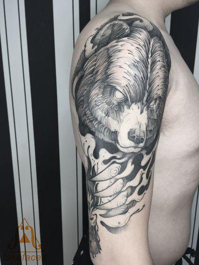 #fakefacestattoo #lineart #blackink #blacktattoo #tattooart #inked #bear #beijing