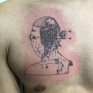 Tattoo by MC364 #MC364 #robottattoos #cyborgtattoos #robot #cyborg #AI #mechanical #machine #linework #blackwork #fineline