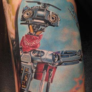 Tattoo by Randy Engelhard #RandyEngelhard #robottattoos #cyborgtattoos #robot #cyborg #AI #mechanical #machine #shortcircuit #80s #funny #cute #realistic #realism