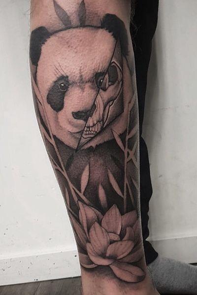Killer panda #panda #skull #bamboo #blackandgrey #bng #fineline