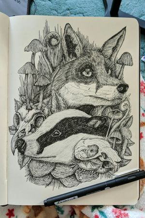 'The Ways Of The Forest' (2018) Sketched using fineliner. Will be available to purchase here soon: https://www.etsy.com/uk/shop/CadnoArtworks