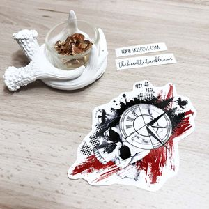 Trash Polka Vol.2 Collection. This ready-to-use design is  INCLUDED!!! www.skinque.com You can buy both trash polka collections 30% off! Go and get them! #trashpolka #skull #compass #realistic #abstract #clock #forest #tree #blackwork #watercolor #flower #trees #pinetree #tattooart #tattooflash #landscape #nature #ink #raven