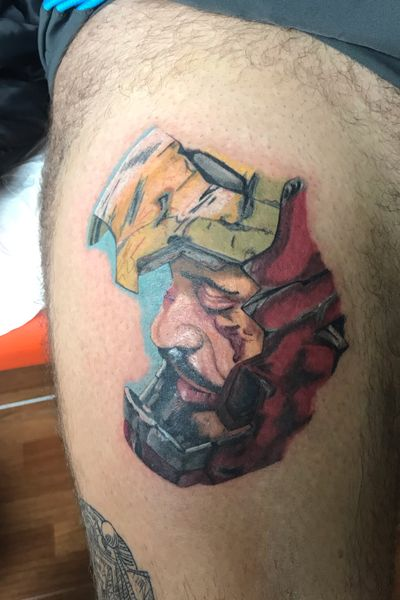 Ironman 😜#ironman #marvel #MarvelTattoo #colortattoo #realistic #RobertDowneyJr