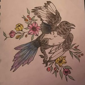 Magpie and flowers
