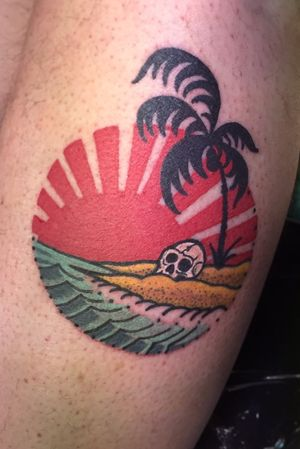 """""""Permanent vacation"""" custom tattoo done in Maui"""
