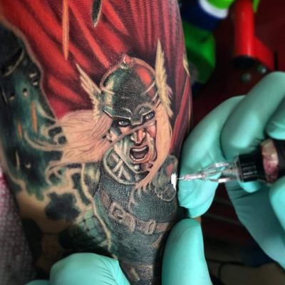 """""""I choose to run towards my problems, and not away from them. Because's that– because's that what heroes do."""" Thor www.ettore-bechis.com tattoo shop in Miami Beach #Wip done with tubes and needles by @kingpintattoosupply #slotlockcartridges @harley_to_good #marvel #Thor #theavengers #comics #tattoo #tattoos #inked #girlswithtattoos #tattooed #instatattoo #tattooart #tattooedgirls #besttattoo #thebesttattooartists #ink #instafashion #womantattoo #tattoolive #lovetattoo #beautifultattoo #lovetattoo #ideatattoo #perfecttattoo #woman #body #Miamibeach #tattoostudio #tattooartist"""