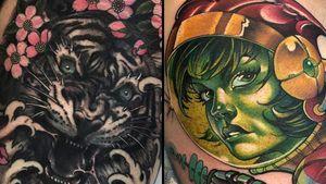Tattoo on the left by Fibs and tattoo on the right by James Tex #Fibs #JamesTex #tattoodoambassador