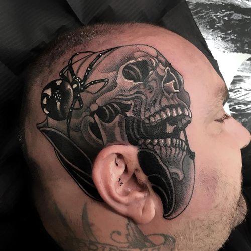 Tattoo by Vale Lovette #ValeLovette #tattoodoambassador #blackandgrey #neotraditional #spider #skull #death #scalptattoo #headtattoo