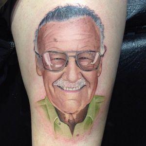 Tattoo by David Corden #DavidCorden #tattoodoambassador #portrait #realism #realistic #hyperrealism #color #stanlee #comicbooks #superhero #marvel #marvelcomics
