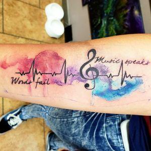 Music is life #musiclife #theheartofmusic #musiclovers #musictattoo #heartbeattattoo #watercolortattoo