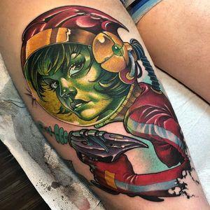 Tattoo by James Tex #JamesTex #tattoodoambassador #neotraditional #newschool #mashup #color #pinup #spacebabe #babe #ladyhead #lady #portrait #astronaut #spacetravel #gun #futuristic
