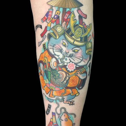 Tattoo by Wendy Pham #WendyPham #tattoodoambassador #guineapig #mouse #animal #cute #color #neojapanese #japanese #ramen #foodtattoo #food #chopsticks