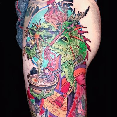 Tattoo by Ed Perdomo #EdPerdomo #tattoodoambassador #neojapanese #color #dragon #chicken #ramen #prawn #chopsticks #foodtattoo #food #kimono