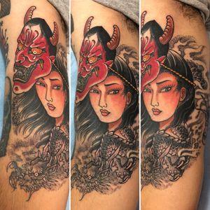 #hannya #Geisha #japanese #dotwork #sandiego #dragon
