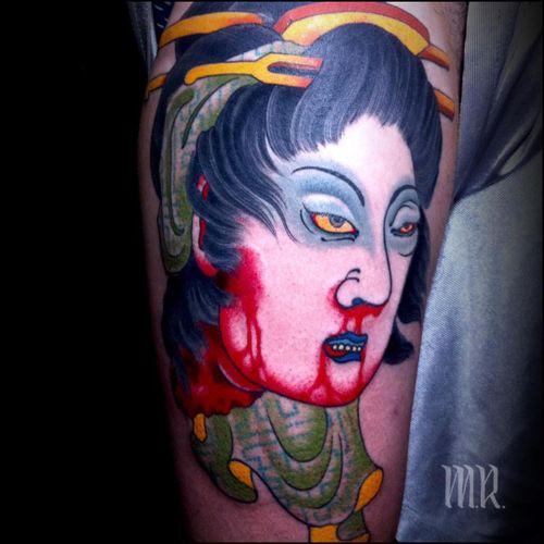 Tattoo by Mike Rubendall #MikeRubendall #tattoodoambassador #Japanese #irezumi #color #namakubi #severedhead #geisha #death #blood #portrait #ladyhead #lady