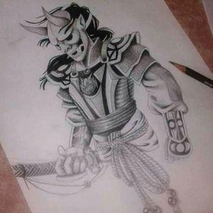 Samurai negro y gris