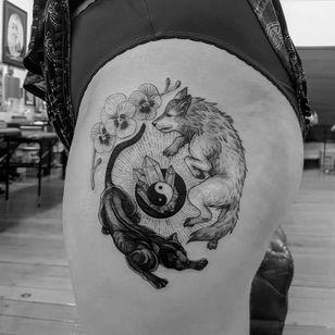 Tattoo by Alexandyr Valentine #AlexandyrValentine #YinYangtattoos #YinYang #Chinese #symbol #orchid #wolf #panther #crystals #gems #illustrative #blackandgrey