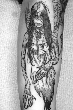 """""""Her eyes now gravesites as she speaks in epitaphs."""" #revoltingworship #americancrowtattoo #tattoo #blackwork #blackworktattoo #blackworkers #btattooing #blckink #tattoos #darkart #darkartists #darkartist #tttism #blxckink #onlythedarkest #blackclaw #columbustattooers #ohiotattooers #thedarkestwork #blkttt #ttmmt #horrortattoo #deadgirl"""