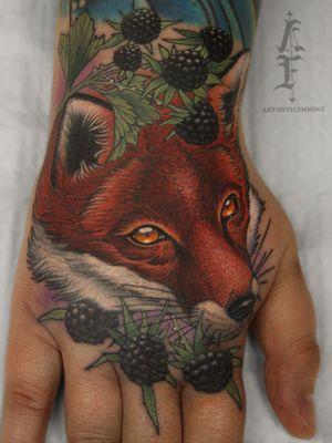Fox hand tattoo by Antony Flemming #AntonyFlemming