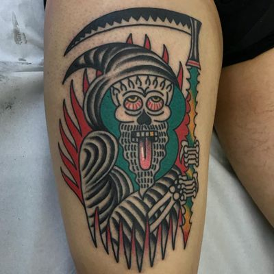 Tattoo by Scumboy666 #Scumboy666 #firetattoos #fire #flame #burning #element #color #traditional #reaper #skull #skeleton #scythe #death