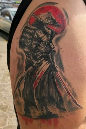 Healed samurai tattoo done a couple of months ago