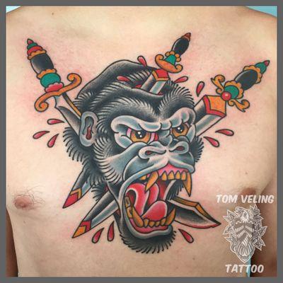 www.TomVelingTattoo.com TomVelingTattoo@gmail.com #portsidetattoo #AmericanTraditional #traditionaltattoo #radtrad #sandiego #whipshaded #chestpiece #gorilla #dagger
