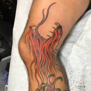 Tattoo by Dansin #Dansin #firetattoos #fire #flame #burning #element #snake #reptile #mashup