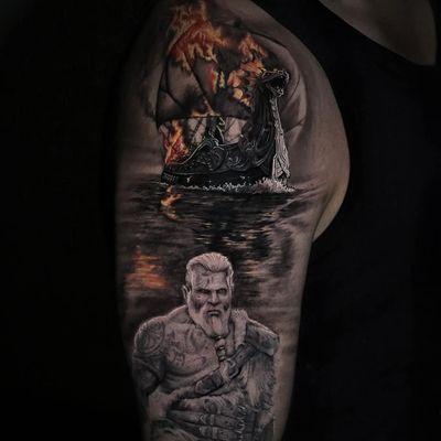 Tattoo by Stefano Alcantara #StefanoAlcantara #firetattoos #fire #flame #burning #element #viking #boat #ship #dragon #realism #realistic #photorealism #water #reflection #blackandgrey