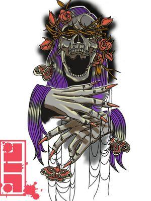 Color guide for tattoo...#photoshop #render #color #guide #reference #skulls #skeleton #moths #marionette #design #illustrative #graphic #byjncustoms