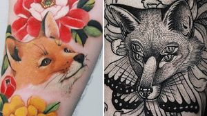 Tattoo on the left by Sion and tattoo on the right by Hiralupe #Hiralupe #Sion #foxtattoos #fox #animal #nature